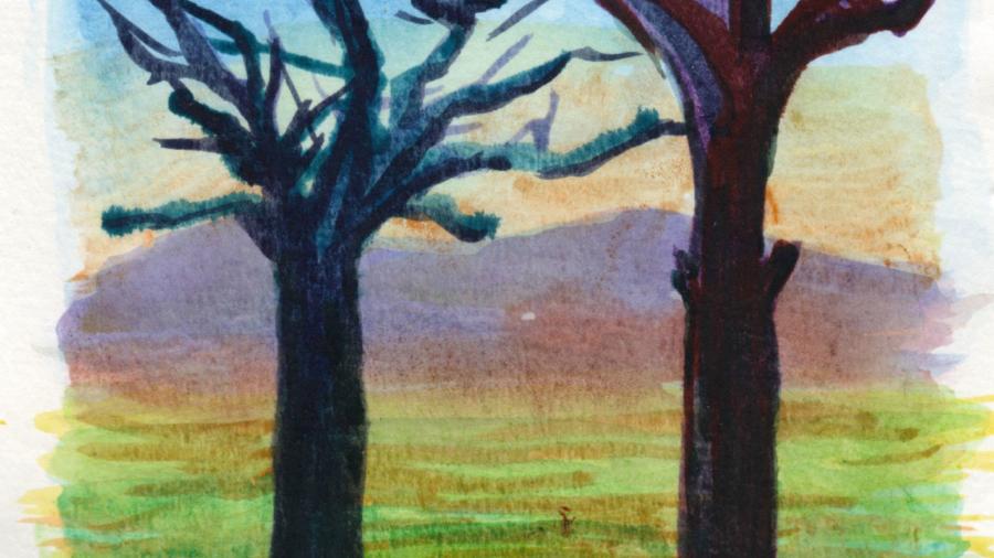 Due alberi, acquerello paesaggio di Luca Sanna