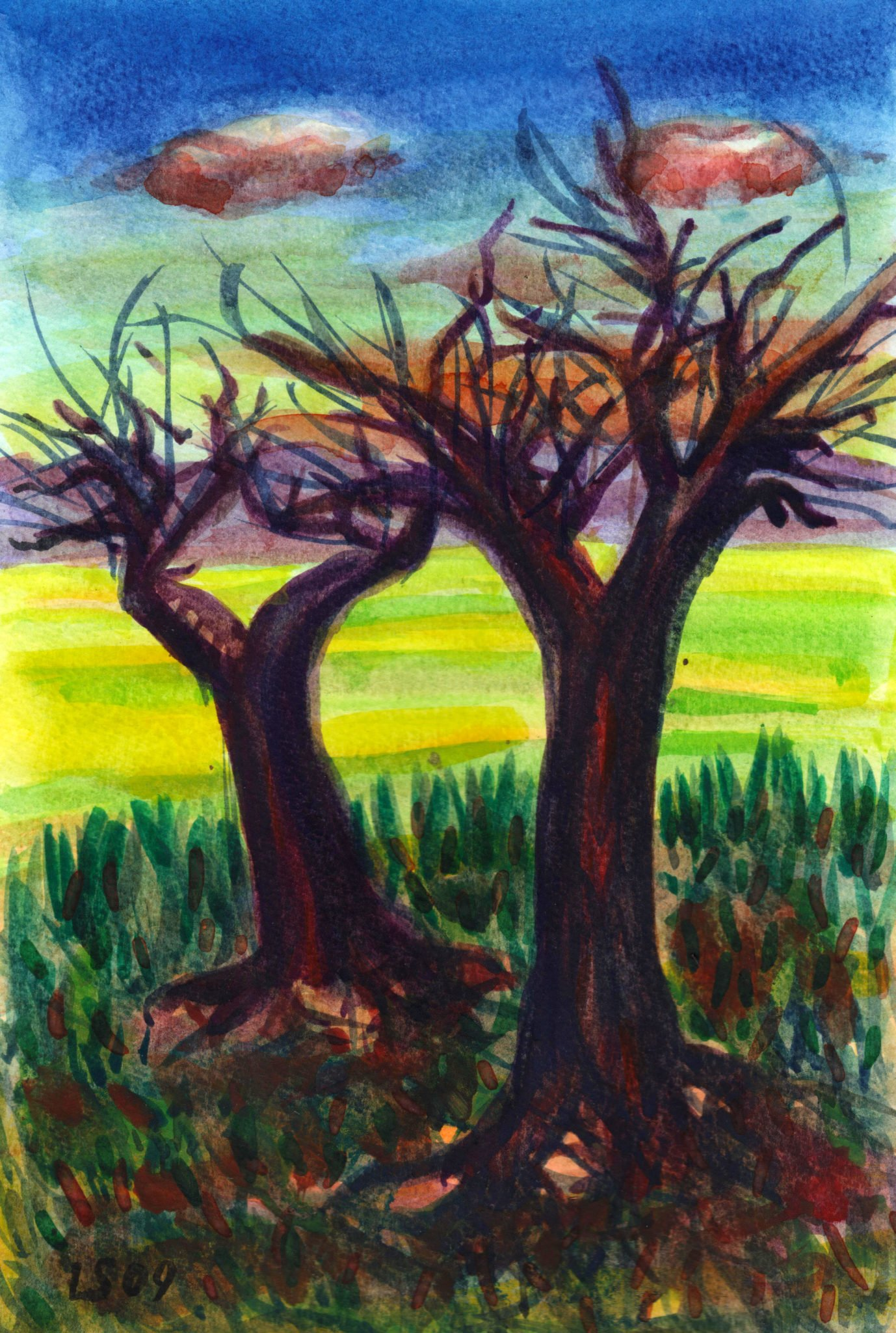 Paesaggio con due alberi