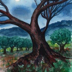 Paesaggio notturno con alberi Luca Sanna