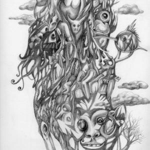 Delirio, disegno a matita di Luca sanna