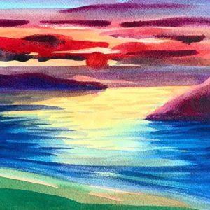 Tramonto sul mare - pittura